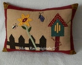 "Butterfly House Pillows ~ Spring Pillow ~ Chair Pillow ~ Hand Appliqued and Quilted ~ OOAK 15"" x 20"""
