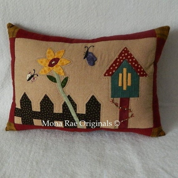 """Butterfly House Pillows ~ Spring Pillow ~ Chair Pillow ~ Hand Appliqued and Quilted ~ OOAK 15"""" x 20"""""""