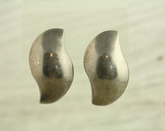 Vintage Mexico Modern Big Bold Sterling Silver Earrings Unique Shape (ET259 )