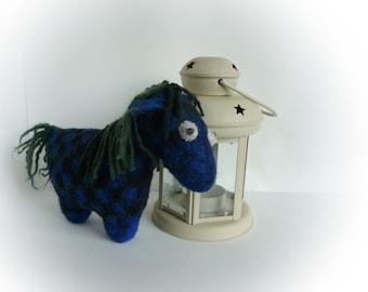 Felted pony. Checkered wool horse. Eco friendly toy. Boheme home decor. Valentine's day gift. Aleksandr