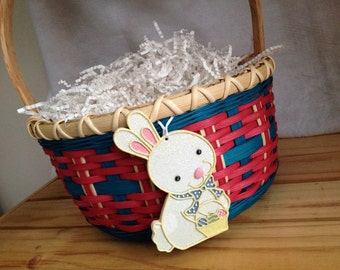 Handmade Large Girl's Classic Round Easter Basket - Raspberry and Turquoise