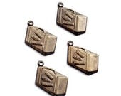 CLEARANCE  - SUITCASE Charms, Vintaj Natural Brass - Qty 4, Journey Case Charms