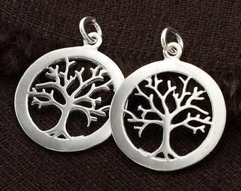 2 of 925 Sterling Silver Tree of Life Pendants 18 mm. Polish Finished. :th2182