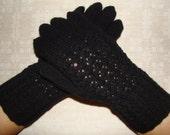 Hand knitted very warm black women gloves