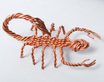 Vintage copper wire wrap Scorpion figurine, dark patina