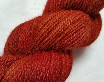 Hand Dyed 3 ply Sport Weight Alpaca Yarn in Rust and Burnt Orange