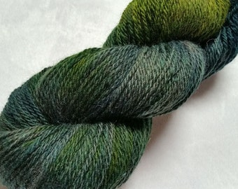 Corriedale-Silk 3 Ply- 80/20 Yarn Hand Dyed in shades of Green