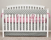Bumperless Crib Bedding - Crib Skirt, Teething Crib Rail Cover- Gray Polka Dot, Pink Ribbon Ties - Emery - TS0