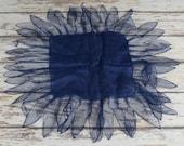 "Unusual Navy Hankie 1920s Navy Linen & Tulle Handkerchief 13"" x 13"" Blue - B6"