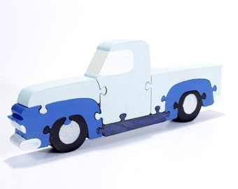 Blue Truck Decor and Puzzle - Vintage 1950's Pickup Truck