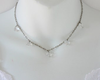 SALE 40 PERCENT Off Vintage Silver Tone Clear Crystal Glass Heart Charm Silvertone Valentines Day Cable Chain SHORT Choker Length Necklace