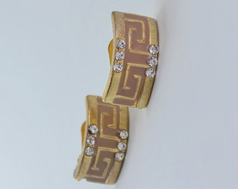 Vintage Gold Tone Tan Brown Enamel Clear Crystal Rhinestone Curved Rectangle Half Hoop Geometric Clip On Earrings