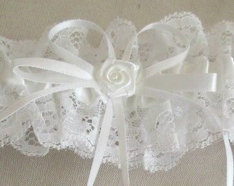 White Satin with Lace Garter
