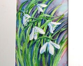 Snowdrops in the Wind  - Original Watercolor Art -with ivory  mat / mount