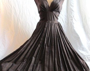 50's Vintage Silk Brocade Dress Evening Gown medium