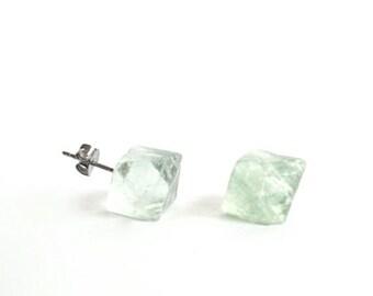 Raw green FLUORITE crystal pyramid hexagonal natural rough post earrings studs