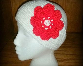 Knit Headband, Headwrap, Ear Warmer - Baseball / Softball theme