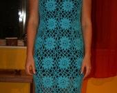 Handmade crochet lace turquosie blue cotton flowers motifs maxi long boho hippie beach girls dress