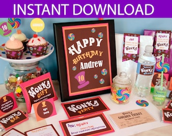 Willy Wonka Party DIY Printable Kit - INSTANT DOWNLOAD