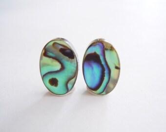 Abalone Shell Stud Earrings - Sterling Silver Posts - Minimalist - Paua Shell