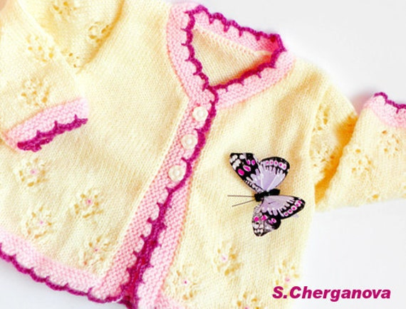 Hand knitted baby sweater, knitted baby sweater, baby girl clothes, baby girl vest, Ready to ship