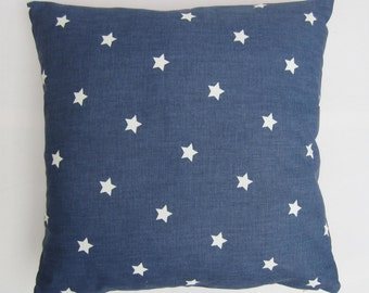 "Blue Star Pillow Cover, Star Cushion Cover, Stars Decorative Pillow Cover, UK,  Denim Blue Cotton  Size 14"", 16"", 17, 18"", 20"", 22"", 24"""