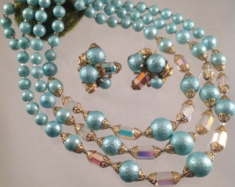 50s Triple Strand Bead and Crystal Necklace Earring Set