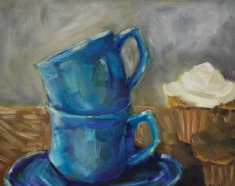 Cupcake Painting - Coffee Tea Cup - still life - coffee mug cupcakes - kitchen wall art