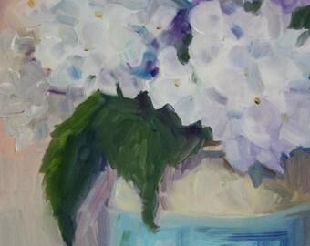 Flower Floral Painting - flower still lfe - Original Oil - Fine Art Home Decor - White Hydrangea - cottage chic wall art