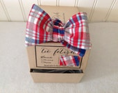 Red white, blue and grey plaid boys bow tie