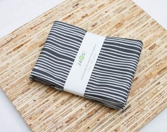 Large Cloth Napkins - Set of 4 - (N3056) - Dark Gray Stripes Modern Reusable Fabric Napkins