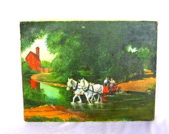 VINTAGE OIL PAINTING /Unframed country scene