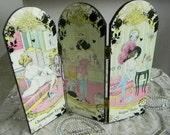 Champagne Eyes, Sweet Thing, Sugar Paper Decorative Tabletop Vanity Decoupage Folding Panel Screen