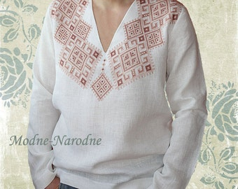 Mens embroidered linen shirts custom made shirts mens floral for Custom deep v neck t shirts