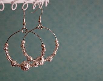 NEW - The Silver Jasmine - Bridal Earrings - Silver Plated Filigree Hoops - Wedding - Elegant BOHO - Bridesmaids