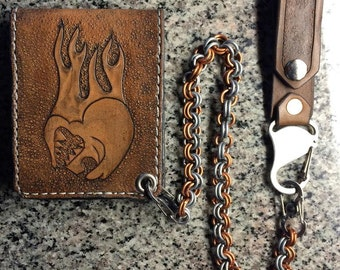 Handtooled Horsehide Wallet with Skull and Flames With Copper and Steel Handmade Chain