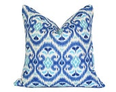 Ikat Blue & Turquoise Pillow Cover - Made-to-Order