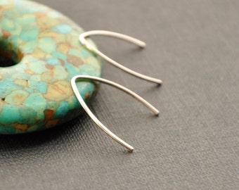 Small Silver Hoop Earrings, Silver Arc Earrings, Silver Wire Earrings, Silver V Earrings, Minimal Earrings, Tiny Silver Earrings
