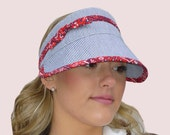 Cruise Vacation Sun Visor in Blue & White Stripe and Red Bandanna Print Cotton with Adjustable Ties and Bow, Folds for Travel, Beach, Golf