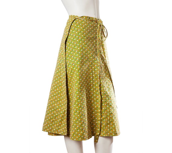 colorful vintage flower pattern a line wrap skirt by