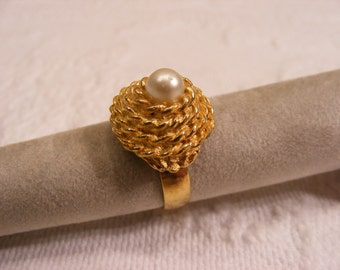 Vintage Adjustable Dome Ring with Pearl, Turban Ring with Pearl, Costume Ring