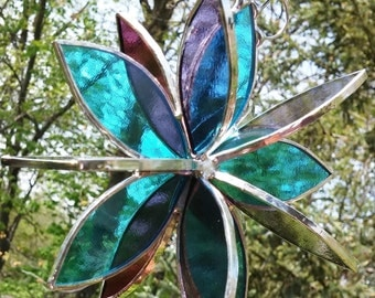 Stained glass 3D flower twirl garden suncatcher aqua grape purple outdoor patio decor garden sculpture yard art