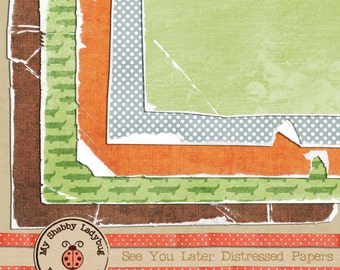 See you Later Torn & Distressed Papers Instant Download! Alligator, Green Brown Orange Blue baby boy