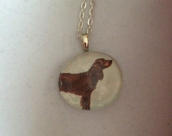 American Water Spaniel dog Vintage Art Glass Pendant Necklace - dog lover gift
