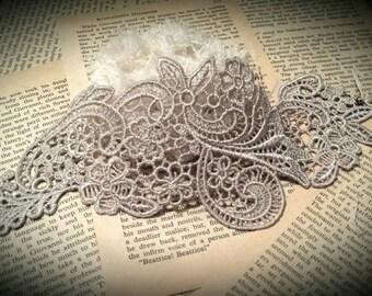 Silver gray lace applique cuff bracelet, silver bracelet, hand made lace, silver cuff, venice lace, bridal jewelry, gray cuff bracelet,