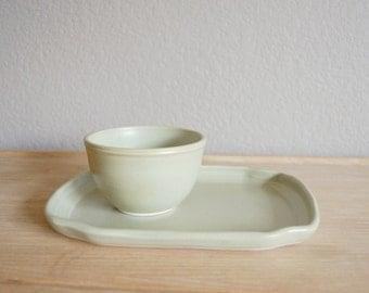 pea green tray and bowl