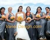 Infinity Convertible Long Short Dress Gray Formal Convertible Bridesmaid Maxi Wrap Dress
