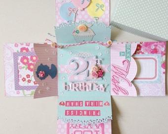 Custom box card handmade for birthday, wedding, festival card