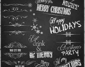 Chalkboard Script & Divider Overlays Christmas overlays Winter holiday overlays, Scrapbooking, winter holidays invitations, wedding