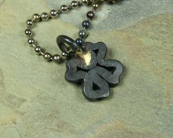 Iron four leaf clover pendant -- i11553